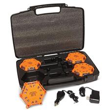 Aervoe 6 Flare Kit, Red LEDs w/charging case, Safety Orange