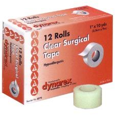 "Dynarex Transparent Surgical Tape, 1/2"" x 10 Yards"