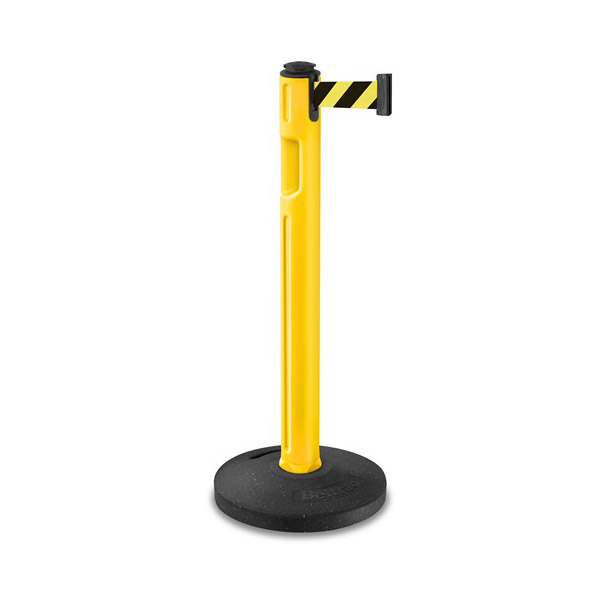 Lavi Stanchion, Yellow Post Rubber Base, Safety Yel Belt