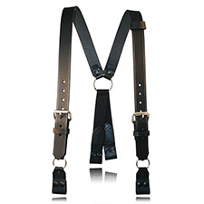 Boston Leather Suspender, Snap On Loop, Plain, Black, REGULAR