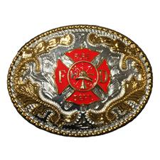 Buckle Shack Fire Dept. Belt Buckle, Silver/Gold