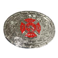 Buckle Shack Fire Dept. Belt Buckle, Silver/Red