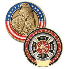 Blackinton Challenge Coin, FF, Thin Red Line, 1.75""