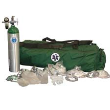 NAFECO Oxygen Kit w/ Bag  & 'E' Cylinder, Green