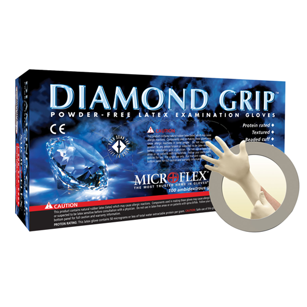 Microflex Gloves, Diamond Grip Powder Free