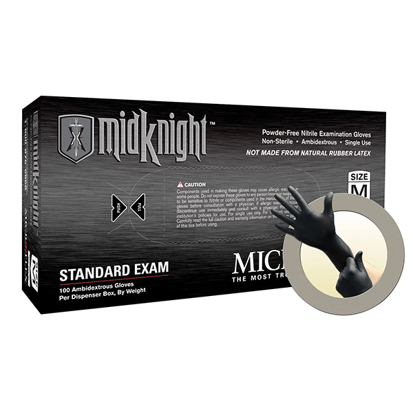 Microflex Gloves, MidKnight PF,  Black, Nitrile