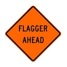 "48"" Reflective Road Sign ""Flagger Ahead"", Org/Black"