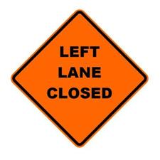 "36"" Reflective Road Sign ""Left Lane Closed"", Org/Black"