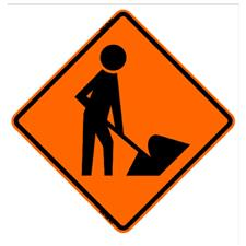 "36"" Non-Reflective Sign, ""Men Working"", Orange/Black"
