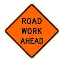 "36"" Reflective Road Sign ""Road Work Ahead"", Org/Blk"