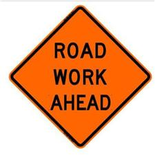 "36"" Non-Reflective Road Sign ""Road Work Ahead"", Org/Blk"