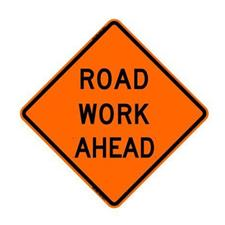 "48"" Reflective Road Sign ""Road Work Ahead"", Org/Black"