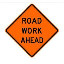 "48"" Non-Reflective Road Sign ""Road Work Ahead"", Org/Black"