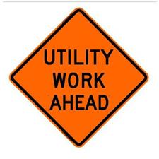 "36"" Reflective Road Sign ""Utility Work Ahead"", Org/Blk"