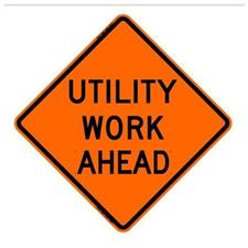 "36"" Non-Reflective Road Sign ""Utility Work Ahead"", Org/Blac"