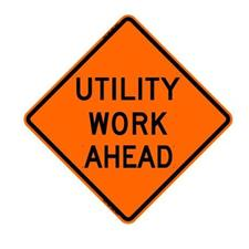 "48"" Reflective Road Sign ""Utility Work Ahead"", Org/Blk"