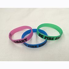 "Fire Safety Youth Wrist Band, ""Be Fire Smart"" Pink Glow"