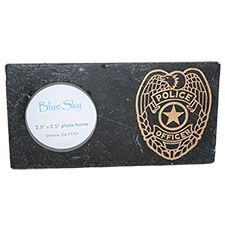 "BlueSky Picture Frame, Stone 4X8, Opening 2.5X2.5 ""Police"""