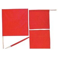 "Pro-Line Flag, Red Vinyl w/ Wood Handle 18""x18"""