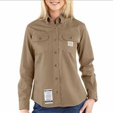 Carhartt Twill Shirt, FR w/ Pocket Women's Khaki 2XL-R